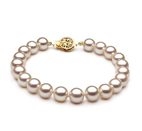 Blanc 7-8mm AAA-qualité perles d'eau douce 585/1000 Or Jaune-Bracelet de perles