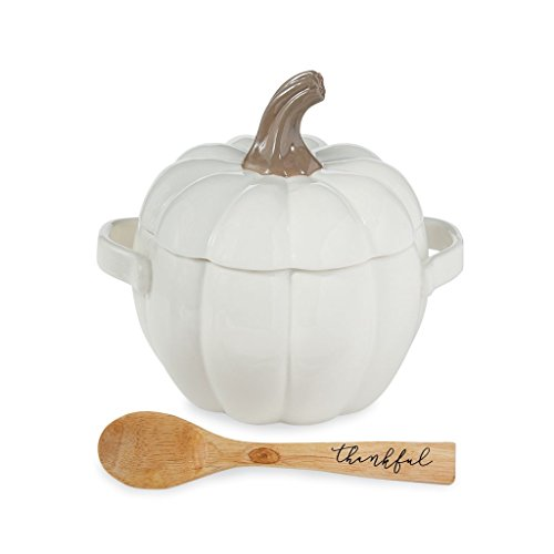 (Mud Pie 4804014 Thanksgiving Pumpkin Backing Dish & Spoon Covered Dish Set, One Size, White)
