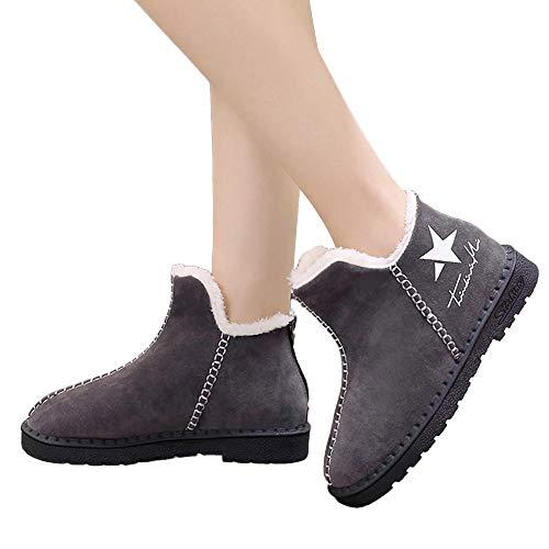 Femme Bottines Boots Chaude Bottes Daim Plates Gris Courtes Fourrées Manadlian Doublure Hiver Neige Chaussures De IwtYfqH