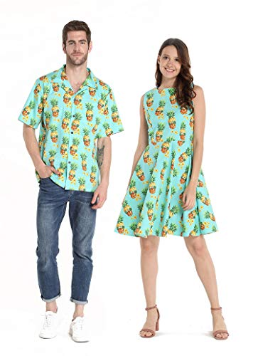 Couple Matching Hawaiian Luau Cruise Outfit Shirt Vintage Dress Halloween Pineapple Skull Men 3XL Women 2XL