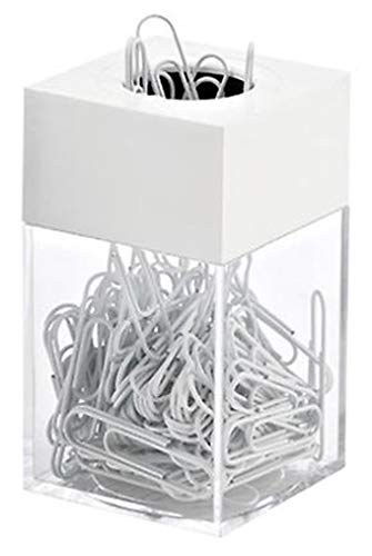 AMAC ClipMaster Magnetic Paper Clip Holder with About 100 White Paper Clips - Crystal Clear Base with White Lid