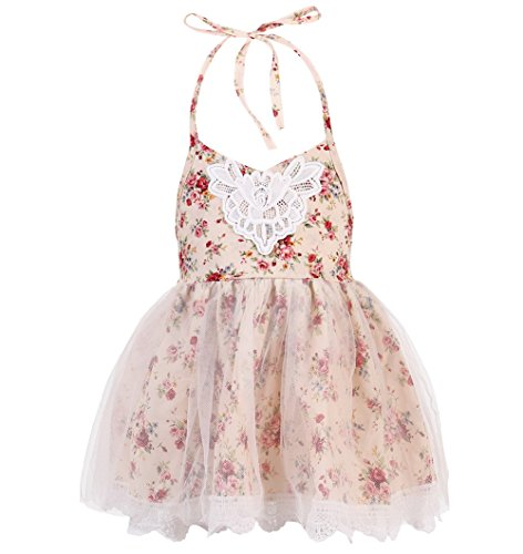 Merry Day Halter Backless Dress for Girls - Floral Strap Sundress with White Tulle Lace, 6M-8T, XXL(5-6Y), Peach (Floral Halter Sundress)