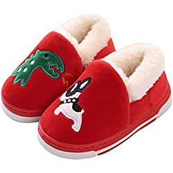 Cute Dinosaur Slippers Kids Family Cartoon Winter Warm House Slippers Booties Red 12-13 B(M) US Little Kid