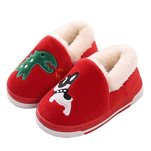 Cute Dinosaur Slippers Toddlers Family Cartoon Winter Warm House Slippers Booties Red 8-9 B(M) US Toddler
