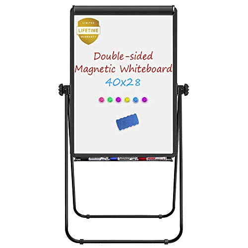 (Stand White Board, Magnetic Dry Erase Board 40 x 28 inches Flipchart Pad Double Sided, Height Adjustable Portable Whiteboard with 1 Eraser, 3 Markers, 6 Magnets, Black)