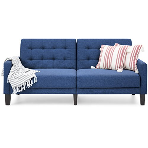 Best Choice Products Convertible Linen Upholstered Split Back Futon (Navy)