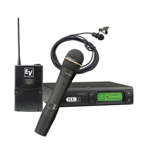 Electro-Voice RE2-Combo Handheld and Lavalier Wireless Microphone System, Includes BPU-2 and HTU2D-267a Transmitter, RE-2 Receiver, ULM-21 Mic, Case, A: 648-676MHz by Electro-Voice