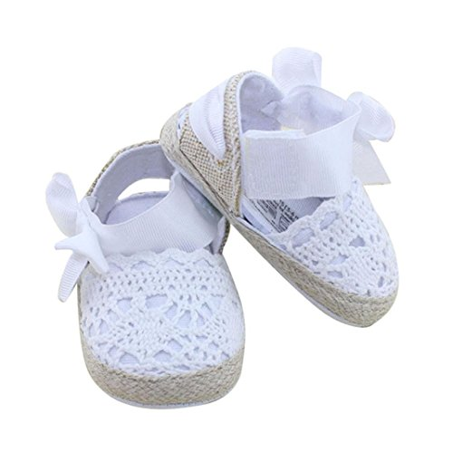 DZT1968® Baby Girl Handmade Knit Cloth Soft Sole Prewalker Shoes Socks With Bowknot (M(6~12 Months), White)