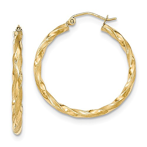 Solid 14k Yellow Gold Polished & Satin Twisted Hoop Earrings 32 x2.5mm
