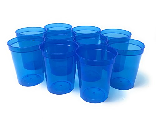 CSBD 10 Pack Blank 16 oz Plastic Stadium Cups Bulk - Reusable or Disposable, Made In USA, Great For Customization, Monograms, Marketing, DIY Projects, Weddings, Parties, Events (10, Translucent Blue) ()
