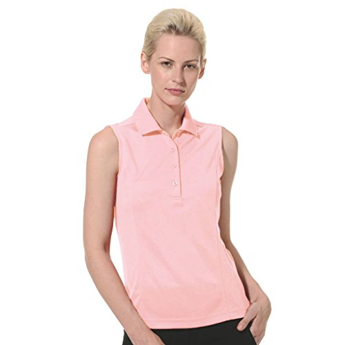Dry Swing Solid Lightweight Pique Sleeveless Polo #2064 (Rose Quartz, Small) (Club Pique Polo Shirt)