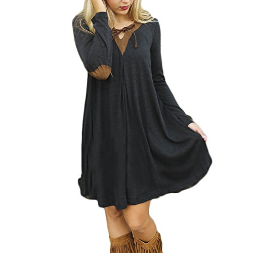 Frauen Mode kurzarm V-Ausschnitt Spitze Loose Beiläufige Minikleid Ballkleid Freizeitkleid Abiballkleid