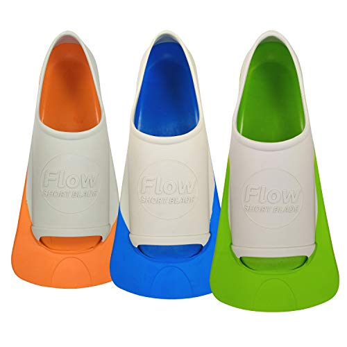 Flow Short Blade Swim Fins for Swimming Pool Lap Training - Youth Sizes (XXS 1-3 (Orange))