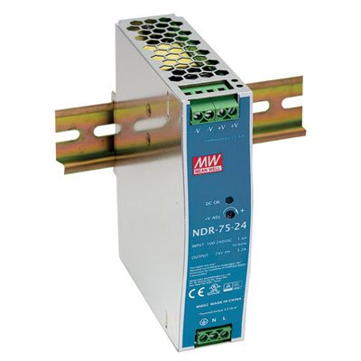 AC to DC Switching DIN Rail Power Supply 24 Volts 3.2 Amps 76.8 Watts