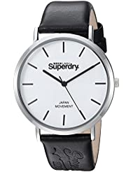 Superdry Oxford Monochrome Quartz Silver-Tone and Leather Casual Watch, Color:Black (Model: SYL190B)