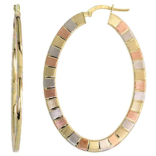 - 10k Tri Color Gold Ftat Hoop Earrings Oval Shape Rose White Yellow Gold Stripes Italy 2 inch