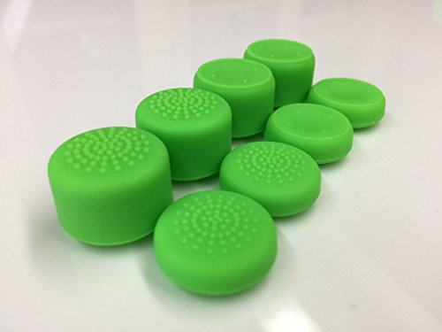 Sweat Free Anti-slip Pack of 8 Pcs Silicone Rubber Precision Raised Analog Joystick Thumbstick Thumb Stick Grips Cap Cover for PS4, PS3, Switch Pro, Xbox one, Xbox 360, Wii U, PS2 Controller (Green)