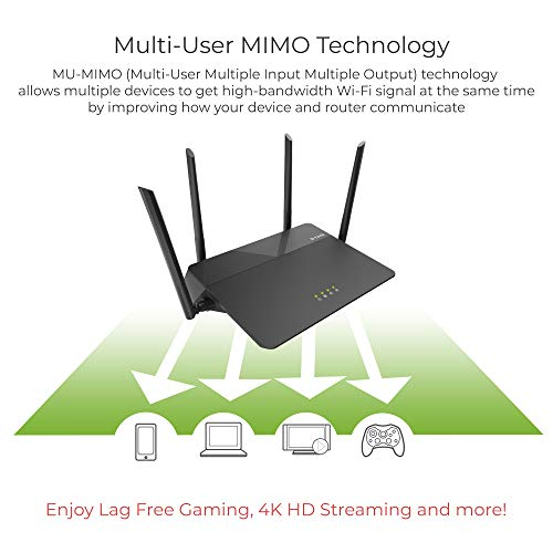 DLink AC1900 Wireless WiFi Router 22683648220 Smart Dual Band 22683648220 MUMIMO 22683648220 Powerful Dual Core Processor 22683648220 Fast WiFi for Gaming and 4K Streaming 22683648220 Reliable Coverage DIR878