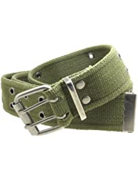 Double Grommet Cargo Belt 1-3/4 Wide Heavy-Duty Cotton Gunmetal Buckle