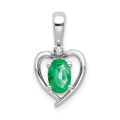 14k White Gold Green Emerald Diamond Pendant Charm Necklace Gemstone Set Birthstone May Fine Jewelry Gifts For Women For Her