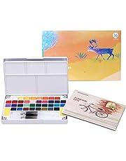 Must-have set voor het schilderen van 36 soorten levendige aquarelverf Professionele aquarelset Draagbaar aquarelblok, inclusief 12 aquarelpapieren, 2 pennen, 2 sponzen