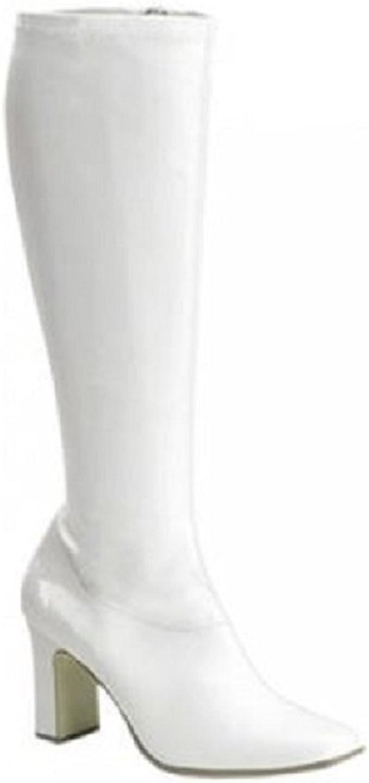 White Retro Wide Calf Gogo Boots - 7