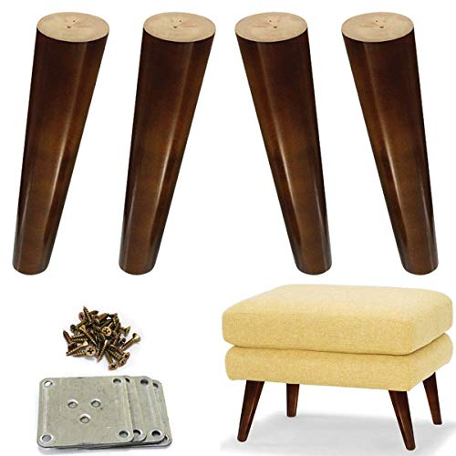 (Wood Sofa Legs 8 inch Pack of 4 Walnut Finished Furniture Feet Replacement Legs Universal for Coffee Table IKEA Buffets Bed Sideboards Cupboard Dresser)