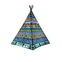 eJoy Indoor Indian Playhouse, Toy Teepee Play Tent for Kids, Canvas Teepee Tent with Carry Case