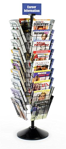 Displays2go 59 Inch Standing Rotating Wire Magazine Stand with 36 Compartments, Floor Standing, Wire Construction - Black (WSFM936PB)