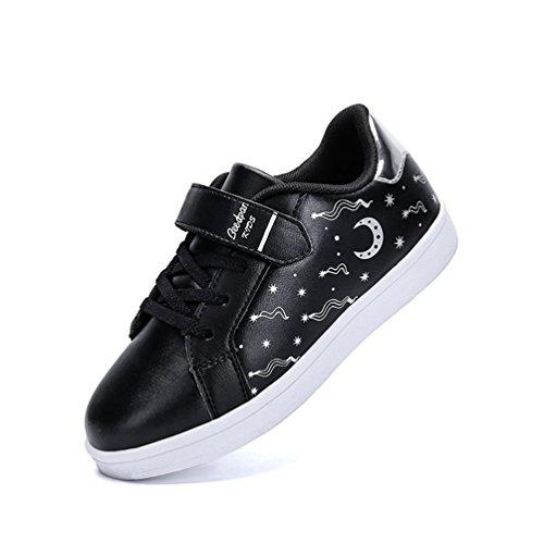 Dexuntong Niños Zapatillas de deporte Calzado infantil Zapatos casuales Antideslizante zapatillas para andar Sneakers Con velcro Negro2