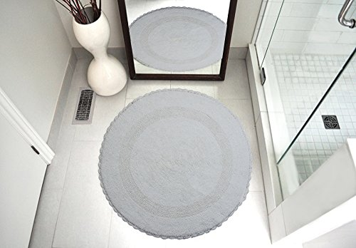 Saffron Fabs SPA Bath Rug 100% Soft Cotton 36 Inch Round, Reversible-Different Pattern On Both Sides, Solid White Color, Hand Knitted Crochet Lace Border, Hand Tufted, 200 GSF Weight, Machine Washable (Rug Round Crochet)