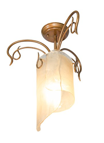 Varaluz 126S01HO Soho 1-Light Close to Ceiling - Hammered Ore Finish with Brown Tinted Ice Recycled (Soho Lighting)