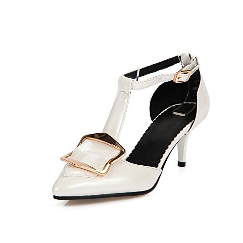 AmoonyFashion Womens Solid Patent Leather Kitten Heels Pointed Closed Toe Buckle Pumps Shoes White NAIDEJZS