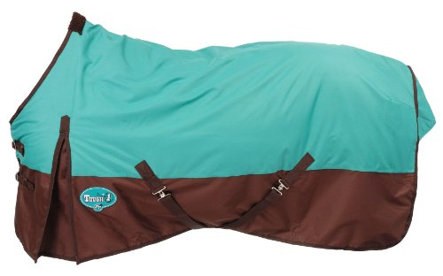 Tough 1 600 Denier Waterproof Horse Sheet, Turquoise/Brown, 84-Inch by Tough 1 (Image #1)