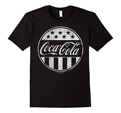 Mens Coca-Cola Vintage Stars & Stripes Bottle Cap Graphic T-Shirt 2XL Black