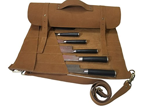 Lightweight Genuine Premium Vintage Tan Leather Professional Chef Knives Bag/Chef Knife Roll 8 Slots by luvsecretlingerie