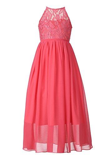 Happy RoseGirls LacePartyWeddingLongChiffonJuniorBridesmaidDress Coral 14 Chiffon Junior Bridesmaid Dresses