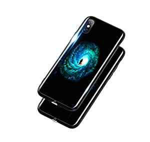 iPhone XS Max case voice-activated flash luminous glass phone shell all inclusive anti fall shockproof protective sleeve