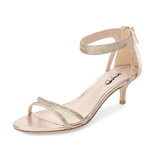 XYD Wedding Dance Shoes Open Toe Low Kitten Heeled Sandals Rhinestones Cutout Style Pumps for Women Size 5 Nude
