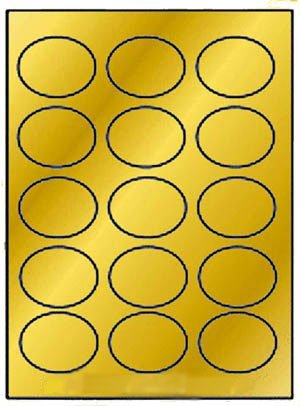 300 Label Outfitters Oval Gold Metallic Foil Laser Labels, 2-1/2 x 1-3/4 inches 15 Labels per Sheet