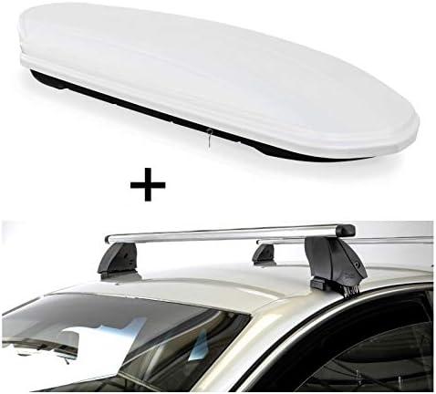 Dachbox VDPMAA460 460 Liter weiß abschließbar + Dachträger K1 PRO Aluminium kompatibel mit BMW X1 (E84) (5Türer) 12-15