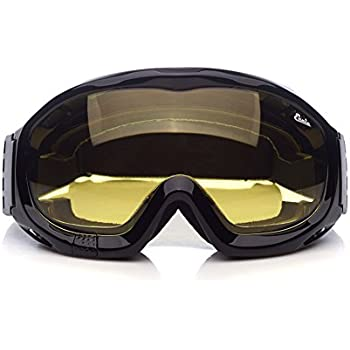 Fit Over Glasses Anti-fog Riding Goggles with Sponge Liner Adjustable Elastic Headband Yellow Lens Brighter