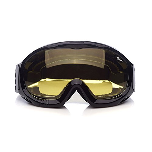 'Fit Over Glasses' Anti-fog Riding Goggles with Sponge Liner Adjustable Elastic Headband (Yellow Lens Brighter) (Motorcycle Goggles That Fit Over Prescription Glasses)