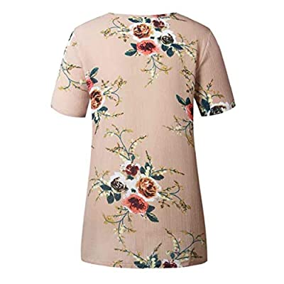 Women Floral Print T-Shirt Round Neck Short Sleeve Tunic Tops Casual Blouse Loose Comfort Tee Tops: Clothing