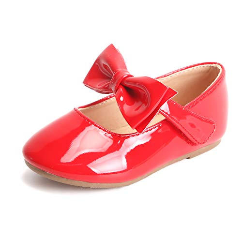(Bear Mall Girls' Shoes Girl's Ballerina Flat Shoes Mary Jane Dress Shoes (Little/Toddler Girls Shoes/Big Kids) (12 M US Little Kid, B317 Red))