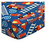 SheetWorld Fitted Cradle Sheet 18 x 36 - Fire Trucks Blue - Made in USA