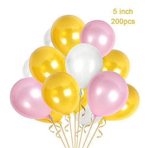 CC Wonderland 5 inch Pink White and Gold Premium Latex Balloons - Party Decoration Balloons - Great for Wedding, Birthday, Bridal/Baby Shower, Water Fights, or Any Parties and Events, Pack of 200