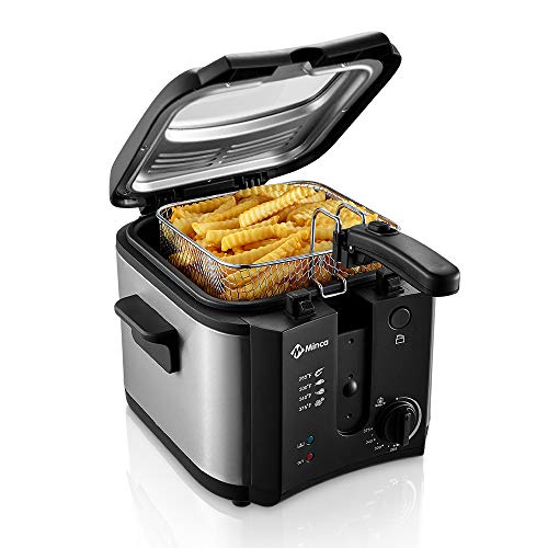 Electric Deep Fryer, M Minca 1500W Oil Fryer with 2.4 Liter Oil Capacity, Removable Cool Toch Basket, Adjustable Temperature Control