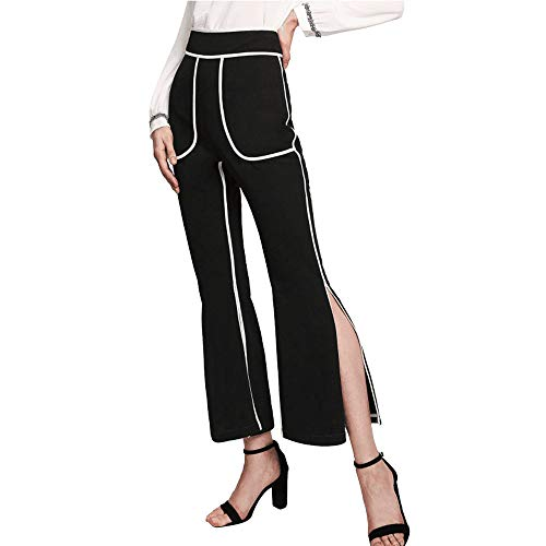 UONQD Womens Pants Ladies Pocket Split Trousers Long Slim Split fit Leggings(Medium,Black)