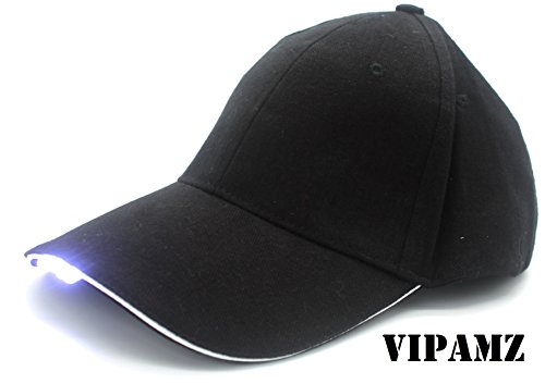 VIPAMZ Hands Free Black Hat with Headlamp/4 Bright LED Lights/Unisex Baseball Cap/Easily Adjustable/One Size Fits All/Flashlight for Hunting, Jogging, Angling and Mor Led Cap